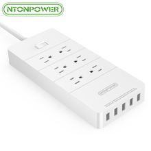 NTONPOWER USB Surge Protector ETL Listed US Plug 6 AC Outlet with USB Charger 5 Port 2.4A Smart Fast Charging - 5 Ft Power Cord