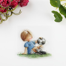 2016 new Scrapbook DIY Photo Album Account Transparent Silicone Rubber Clear Stamps Soccer boy
