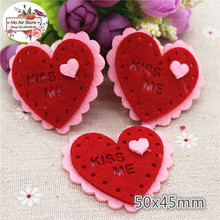 5.0CM Non-woven patches red heart sunflower Felt Appliques for clothes Sewing Supplies diy craft ornament