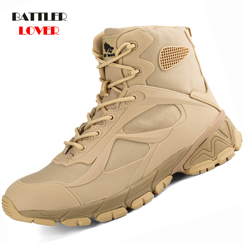 2019 Brand Men Boots Air Mesh Autumn Winter Mens Leather Fashion Sneakers Lace Up Outdoor Mountain Bottes Men