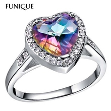 Luxury Princess Heart Cut Blue Mystic Rainbow Ring Wedding Rings For Women Ladies Engagement Silver Color Ring With Rhinestone