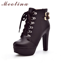 Meotina Shoes Women High Heel Ankle Boots Platform Women Boots Winter Fur Martin Boots Buckle Lace Up Lady Shoes Big Size 44 45