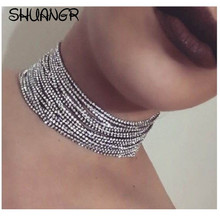 SHUANGR Crystal Choker Necklace 2017 Luxury Chokers Necklaces For Women Trendy Chunky Neck Accessories Fashion Jewellery