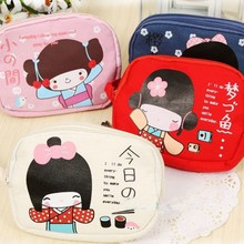 TEXU Cute Japanese canvas Coin Purse Small Coin Wallet Credit card holder bag can attach to belt(China)