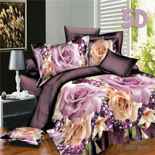 "Home Textiles 5D Bedclothes ""Fragrant Flower"" 4PCS Bedding Sets  King Or Queen"