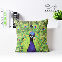 High Grade Cotton Sofa Cushion Pillow Office Back Pillow Car Home Accessories Pastoral Peacock Feather 45*45cm(China)