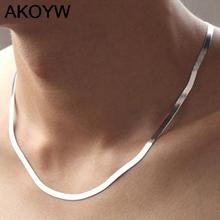 high quality silver plated necklace Men Ms Short paragraph clavicle Blade chain fashion Nightclubs accessories Flat chain 45CM