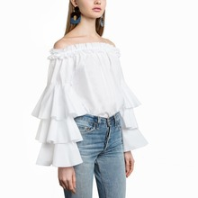 Buy Women Fashion White Ruffles Blouse Shoulder Ladies Elegant Tops Clothing Shirts Tops Female Clothes Blouses 0726-46 Orders, 56458) for $17.79 in AliExpress store