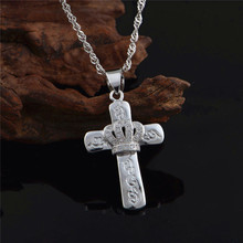 Newest Fashion 925 Sterling Silver Crown Cross Pendant Crystal Element Chain Necklace for women teenage girls.Gift for Birthdays(China)