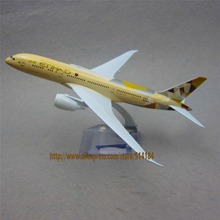20cm Metal Plane Model Air Etihad Airlines Boeing 787 B787 Airplane Model Airways w Stand Aircraft Kids Gift(China)