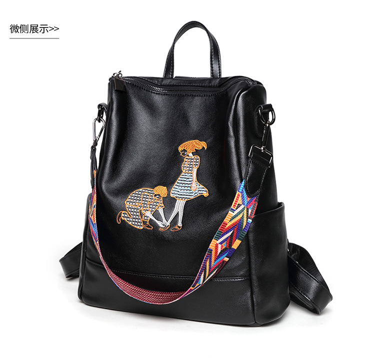 Embroidery backpack 2017 new fashion bag Korean all-match ribbon shoulder bag<br>