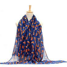 1pcs Women Vintage Fox Animal Printed Long Soft Cotton Voile Scarf Shawl Wrap Scarves