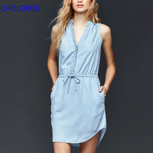 2016 Denim Dress Women Summer Light Blue Sleeveless Sashes Shift Dress Double Pockets Casual Mini Dresses vestido jeans