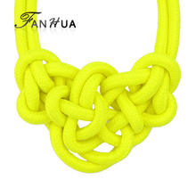 FANHUA New Coming Yellow Colored Knitted Rope  Choker Neon Necklaces