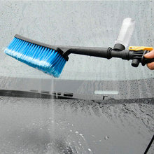 Car Wash Brush Switch With Water Retractable Cleaner Long Handle Foam Water Gun Soft-Bristle Pile Hair Car Cleaning Tool
