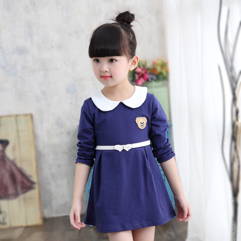4Color Brand Fashion Baby Girls Dress 100%Cotton Long Sleeve Girls Princess Dresses School Style Toddler Print Clothes Dress<br><br>Aliexpress