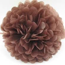 Free shipping 10pcs 14 inch 35cm Coffee Brown Chocolate Pom Poms Tissue Paper Flower Shop Party DIY Decoration(China)