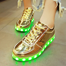 usb led shoes children's luminous shoes sneakers with kids light up shining glowing shoes for girls slippers lights schoenen 45(China)