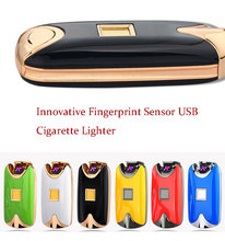 Windproof Plasma Lighter Electron Cross Arc Fingerprint Sensor Touch USB Cigarette Lighter With Bright Fashion Colors