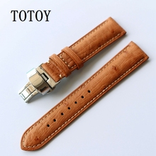 TOTOY High-Quality Ostrich Leather Watchbands, 20MM Retro Men Leather Strap, Folding Buckle Brown Strap