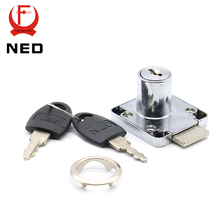NED-138 Furniture Drawer Locks 19mm Diameter 22-32mm Thickness Cabinet Desk Cupboard Lock Home Hardware With Iron/Plastic Keys