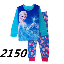 Girl Tee Shirts Pants Snow Kid Nightgown Trouser Queen Baby Girls Clothes Elsa Princess Suits Cotton Children Home Clothes Sets