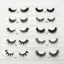 1pair 10 styles 3D Mink lashes Plastic Black Terrier Natural Long Thick false eyelashes Hand Made with clear band makeup tools(China)