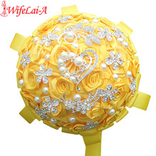 WifeLai-A Factory Selling Gold Yellow Wedding Bouquets Diamond Brooch Bride Flowers de noiva In Stock Best Quality W125(China)