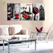 Modern 3pcs London Scenery Canvas Paint Framed Melamine Sponge Board Oil Wall Art London Bus Car Big Ben Landscape Print Picture