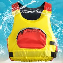 Swimming Life Jacket Water Ski Buoyancy Aid Safety Harness Vest with Front Pocket Reflective Strip Adult Yellow(China)