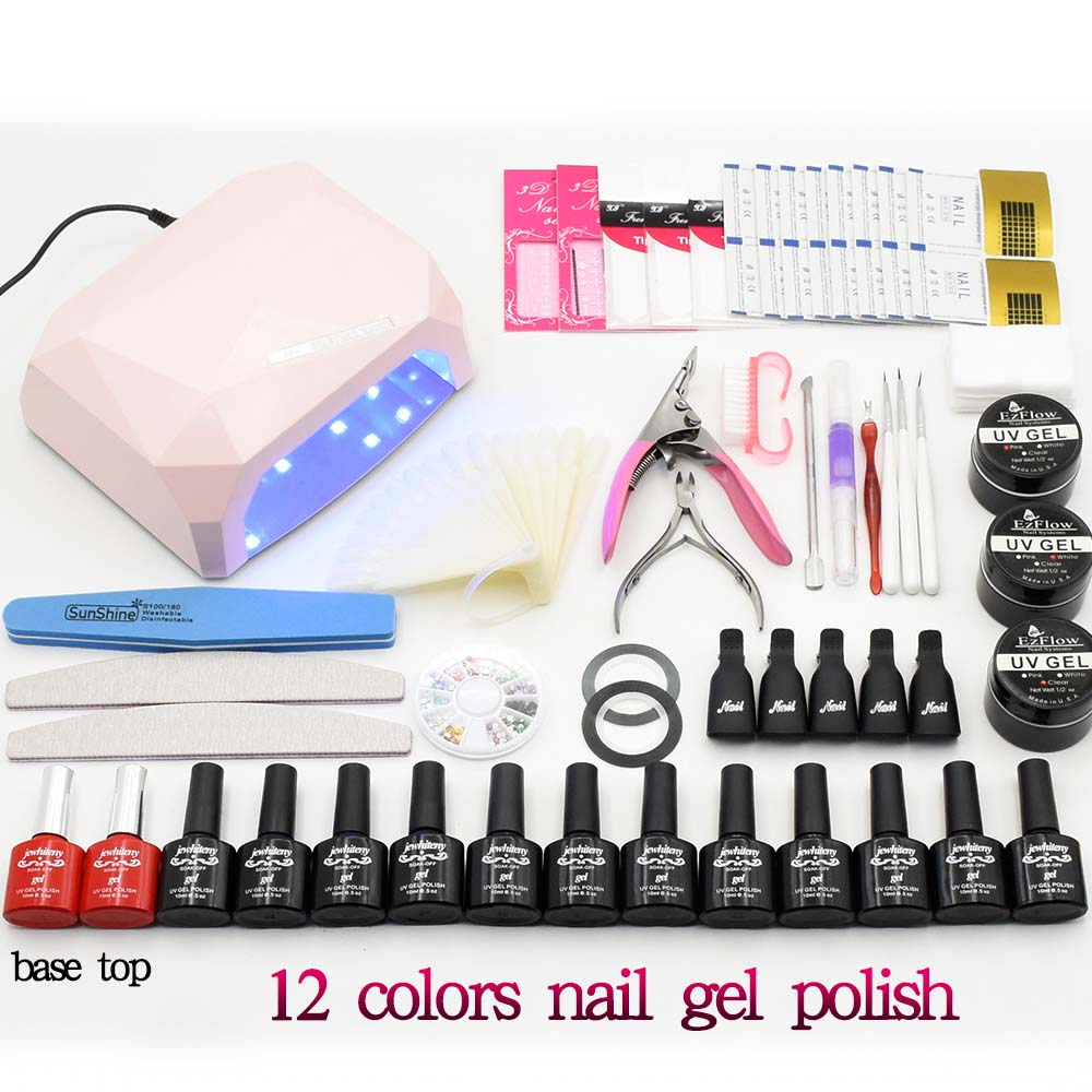 Nail sets Manicure Tool 10ml 12 color soak off Gel Nail Polish UV LED Lamp nail dryer uv build gel base gel top coat nail tools<br>