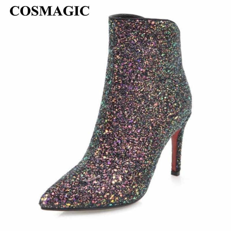 Detail Feedback Questions about COSMAGIC 2018 New Women Fashion Bling  Glitter Ankle Boots Super High Heel Zip Solid Party Wedding Short Botas  Mujer Plus ... c9646d32a9a1