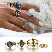 4 Pcs Bohemia Vintage Infinity Ring Set Created Stone Retro Gold Color Fatima Hand Rings For Women Fashion Jewelry Anel