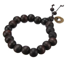 Hot! Buddhist Tibetan Buddha Strand Bracelet Vintage Wood Beads Bracelet Men Natural Handmade Male Bracelet Bangle P