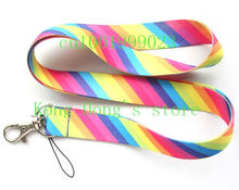 Free shipping 10pcs Very beautiful rainbow neck Lanyard for ID Key chain Cell Phone Neck Strap Lanyards H-7(China)