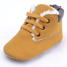 2017 Infant Baby Boys High-top Leather Sneaker Toddler Baby Shoes Anti-Slip Soft Soled Lace up Snow Boots Warm(China)