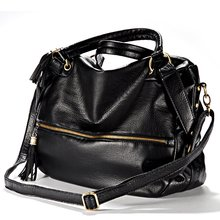 Hot Fashion Large Shoulder Handbag Fringed shoulder strap Imitation varnished Leather Zipper Black