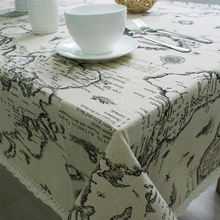 Hot cotton & linen letter printed gray tablecloth lace edge  rectangular tablecloth dustproof home table cover high quality