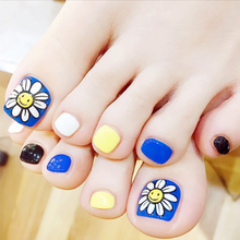 Simple 24pcs/set fashion blue Sun flower design summer finished false nail girl,full Nail tips toes patch, Art Tools