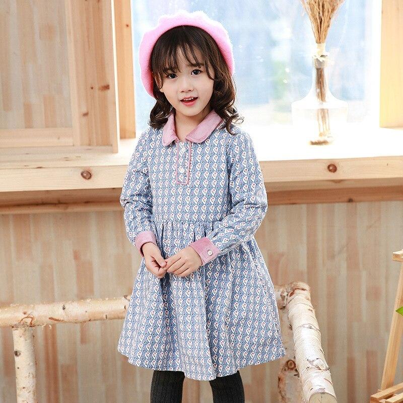 Autumn Winter Girl dress cotton long sleeve flower printed comfortable dress thick warm velvet girl dress floral pattern dress<br>
