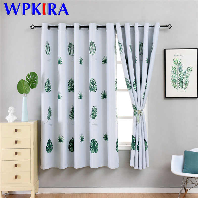 Modern Printed Green Leaves Blackout Curtains For Living Room Bedroom Window Grey Curtain For Kitchen Short Office Drape SQ006D3