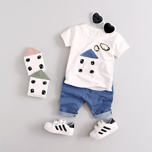 Toddler Boys Clothing Newborn Baby Boy Sets 2017 Summer Two Piece Cloth Cute Little House Children's Clothing Boy Baby Suit(China)