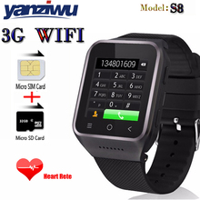 "2017 Bluetooth S8 Smart Watch 1.54"" Android4.4 CAM 512MB+4GB GPS WiFi MP4 FM Phone Record Smart watch Wristwatch pk GT08 U8 GV18"