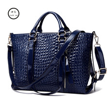 KUNDUI High quality PU Leather vintage women Bags Crocodile pattern shoulder Messenger Bag fashion tote Handbag new summer(China)