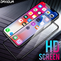 DAXIGUA 9H Edge Aluminum Tempered Glass 6 6S 7 Plus Full Cover For iPhone X 8 5 SE 5S