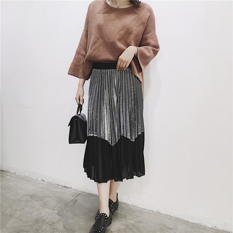 [GUTU] Autumn Summer 2018 Korean New Fashion Patchwork Color Bottoms All-match Elastic Waist Pleated Skirt Loose Women F89201 40