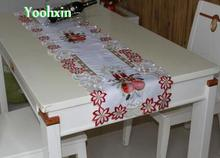 Luxury white satin embroidery table runner cloth cover doily Christmas rectangular mantel tablecloth placemat home wedding decor