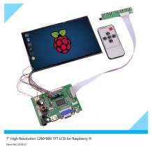 "7""inch High Resolution 1280*800 IPS 39 Pins Screen Multifunctional Driver Board with AV2 HDMI VGA for Raspberry Pi"