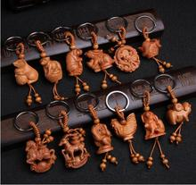 Hot selling natural wood 12 zodiac keychain for unisex children animal monkey sheep snake dragon tiger key chains key ring(China)