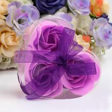3pcs Heart Shaped Artificial Rose Soap Flower Bath Body Soap Romantic Souvenirs Valentine's Day Gifts Wedding Favor Party Decor